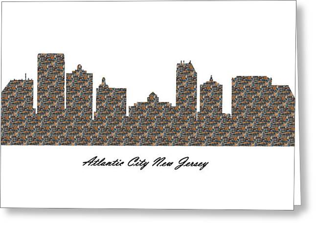 Atlantic City New Jersey 3d Stone Wall Skyline Greeting Card