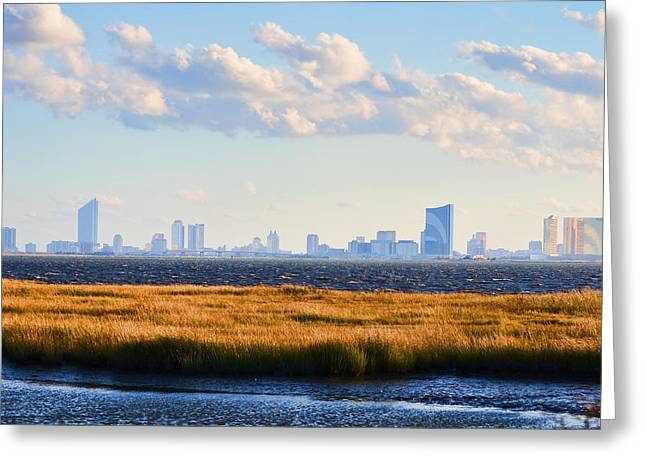 Atlantic City Skyline From Salt Marsh Greeting Card