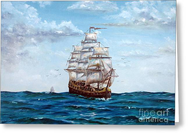 Atlantic Crossing  Greeting Card by Lee Piper