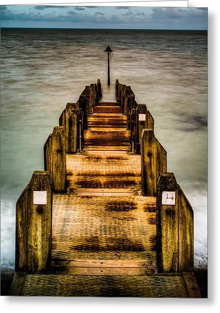 Atlantic Ocean Engulfing A Walkway At Aberystwyth Uk Greeting Card