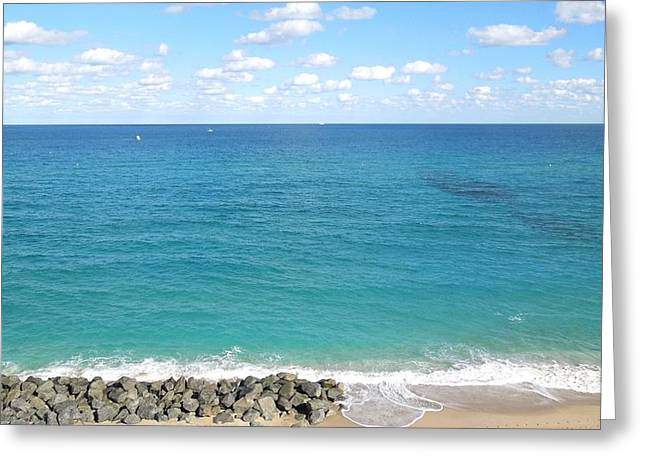 Atlantic Ocean In South Florida Greeting Card by Ron Davidson