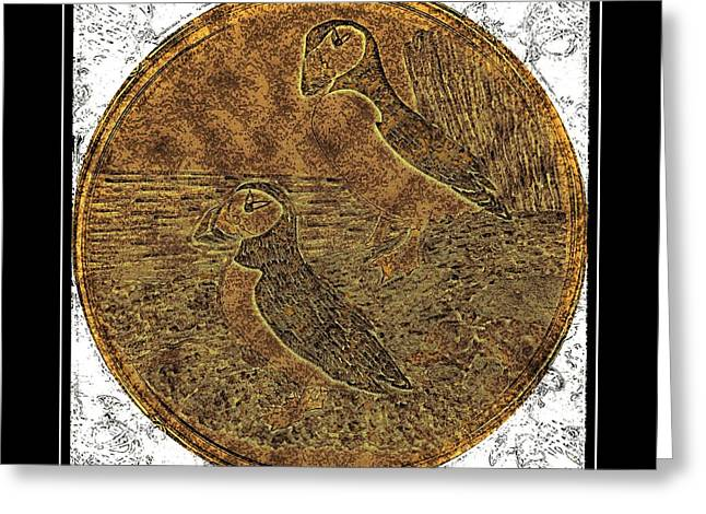 Atlantic Puffins - Brass Etching Greeting Card by Barbara Griffin
