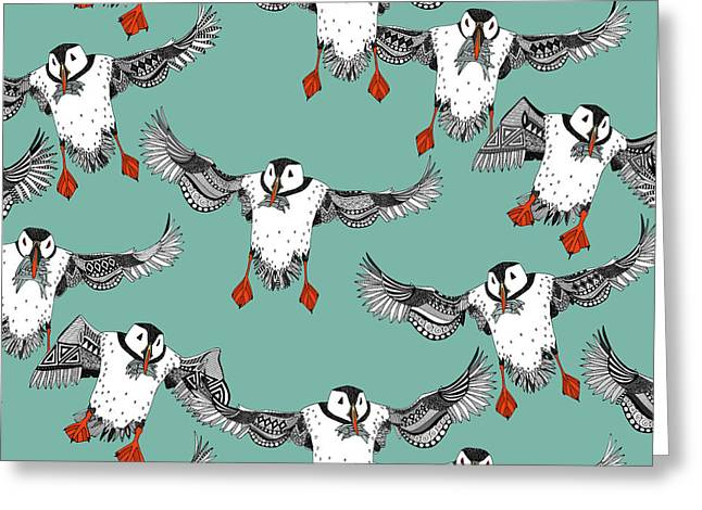 Atlantic Puffins Mint Greeting Card by Sharon Turner