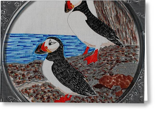Atlantic Puffins - Porthole Vignette Greeting Card by Barbara Griffin