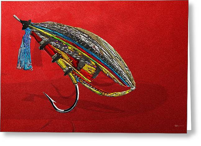 Atlantic Salmon Dry Fly On Red Greeting Card by Serge Averbukh