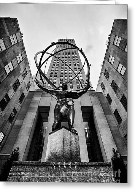 Atlas At The Rock Greeting Card by John Farnan