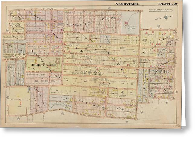 Atlas Of The City Of Nashville Tennessee Belmont Neighborhood 1908 Plate 27a Greeting Card