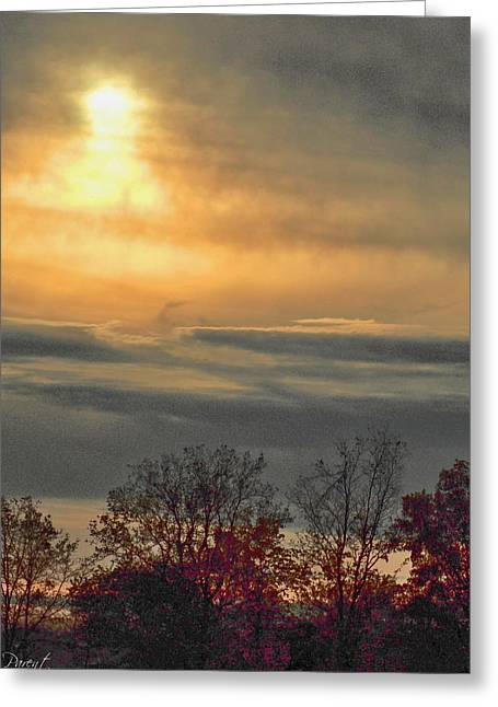 Atmospheric Autumn Sunset Greeting Card by Danielle  Parent