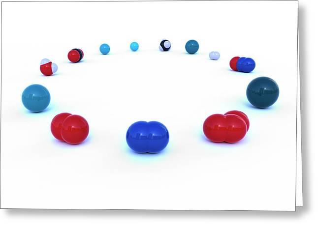 Atmospheric Gas Molecules Greeting Card by Indigo Molecular Images