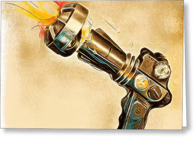 Atomic Blaster Greeting Card by Russell Pierce