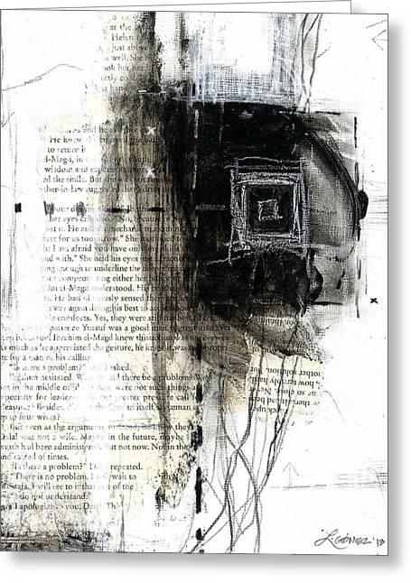 Atrapada -trapped - The Series -black And White Abstract  Greeting Card by Laura  Gomez