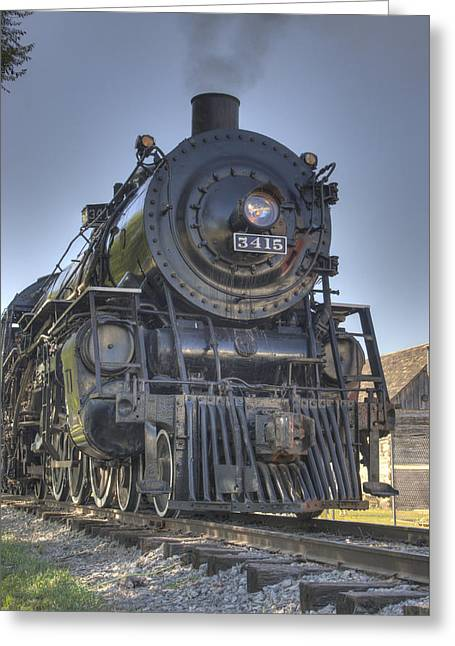 Atsf 3415 Head On Greeting Card by Shelly Gunderson