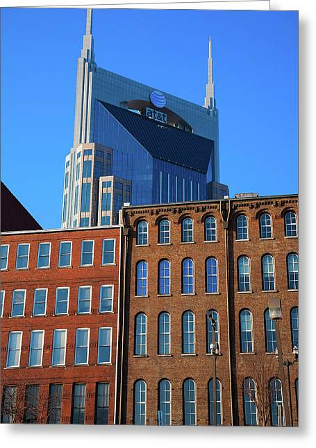 At&t Building And Historic Red Brick Greeting Card