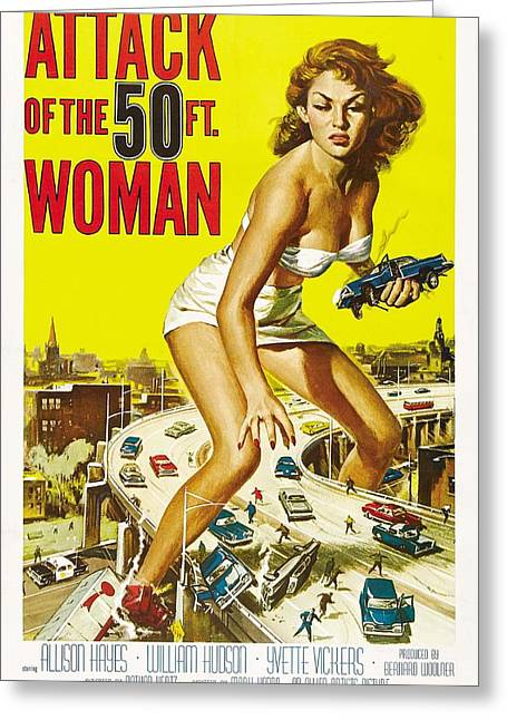 Attack Of The 50 Ft Woman Poster Greeting Card by Gianfranco Weiss