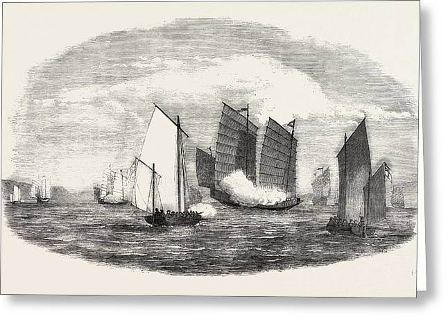 Attack On A Chinese Piratical Fleet By The Boats Of H Greeting Card by Chinese School