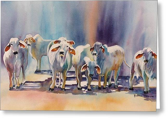 Attention All Ears.  Brahman Bulls Greeting Card by Roxanne Tobaison