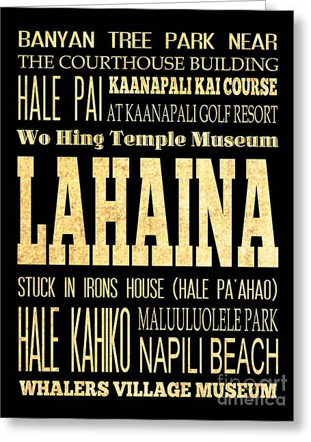 Attraction And Famous Places Of  Lahaina Hawaii Greeting Card by Joy House Studio