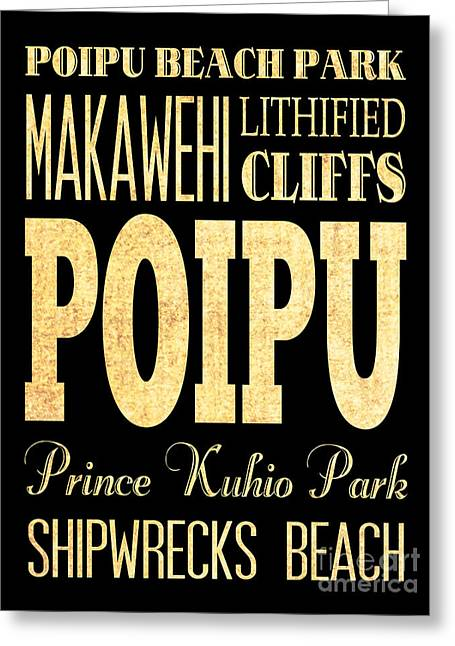 Attraction And Famous Places Of Poipu Hawaii Greeting Card by Joy House Studio