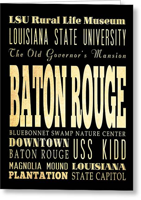 Attractions And Famous Places Of Baton Rouge Louisiana Greeting Card by Joy House Studio