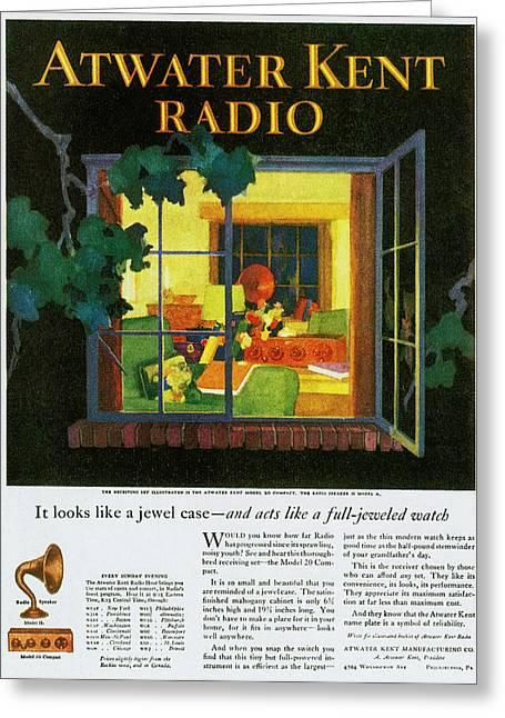 Atwater Kent Radio Ad, 1926 Greeting Card