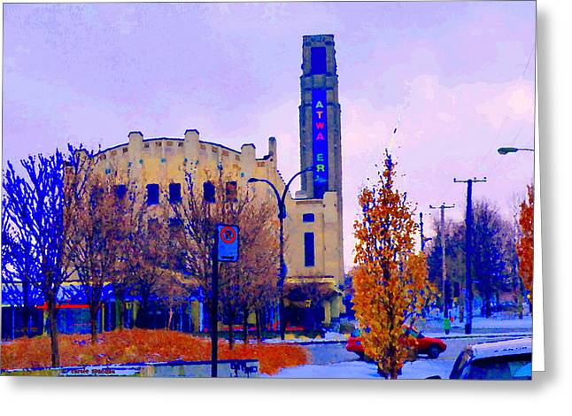 Atwater Market In Winter South West Montreal Historic St Henri Landmark City Scenes Carole Spandau Greeting Card