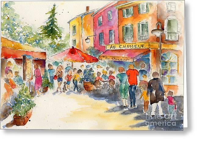 Au Chineur Greeting Card by Pat Katz