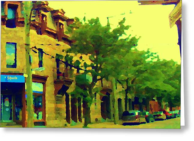 Au Coin Charlevoix Et Chateauguay Friperie Point Couture Montreal Summer Scene Greeting Card by Carole Spandau