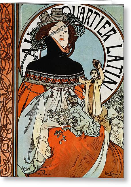Au Quartier Latin Greeting Card by Alphonse Marie Mucha