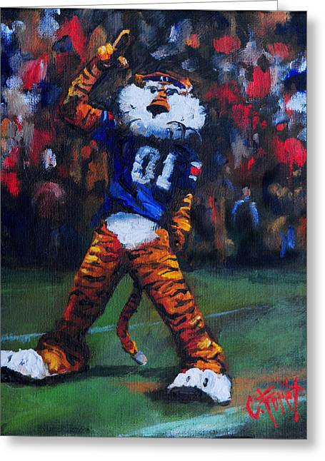Aubie Doing His Thing Greeting Card by Carole Foret