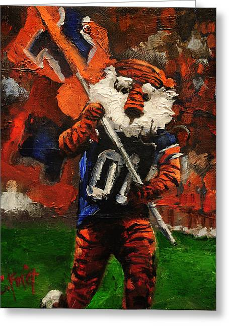 Aubie Running Flags Greeting Card