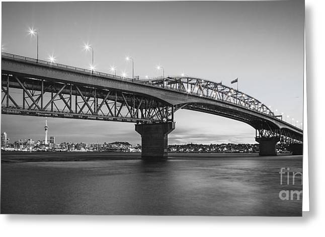 Auckland Harbour Bridge Evening Greeting Card by Colin and Linda McKie
