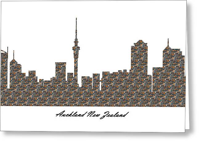 Auckland New Zealand 3d Stone Wall Skyline Greeting Card