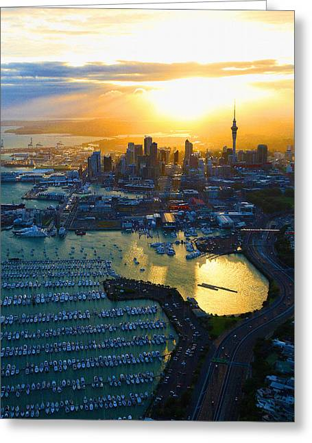 Auckland Oil On Canvaz Greeting Card by Don Kuing