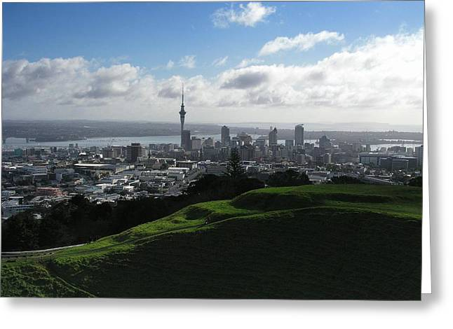 Auckland With Mt. Eden Greeting Card by David and Mandy