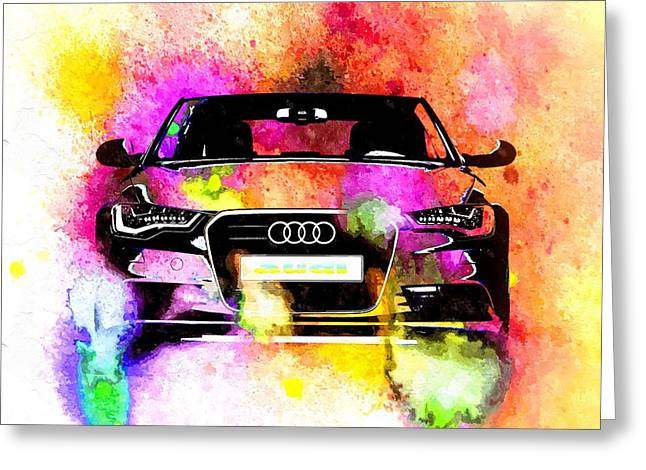 Audi A6 Avant Watercolor Greeting Card by Daniel Janda