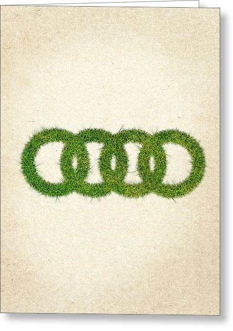 Audi Grass Logo Greeting Card by Aged Pixel