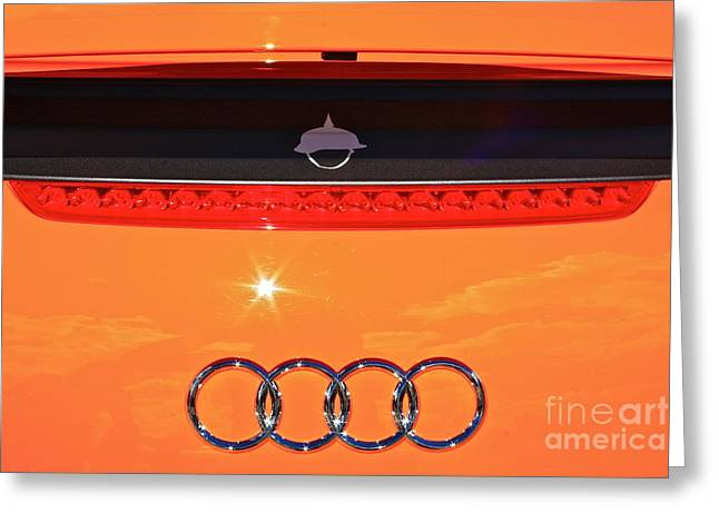 Greeting Card featuring the photograph Audi Orange by Linda Bianic