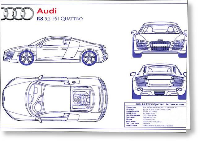 Audi r8 greeting cards fine art america audi r8 blueprint greeting card malvernweather Image collections