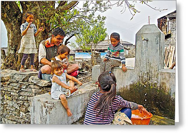 Audience For Girls Doing Laundry In The Mother's Village-nepal Greeting Card
