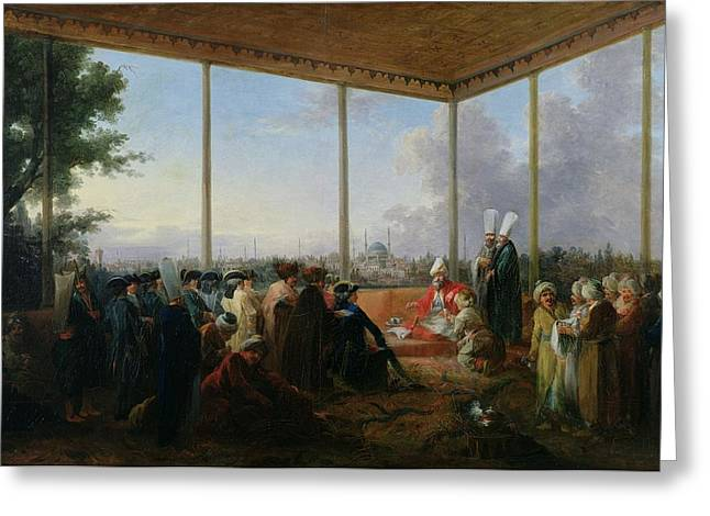 Audience Given In Constantinople By The Grand Vizier Aimali Carac For Francois-emmanuel Guignard Greeting Card by Francesco Giuseppe Casanova