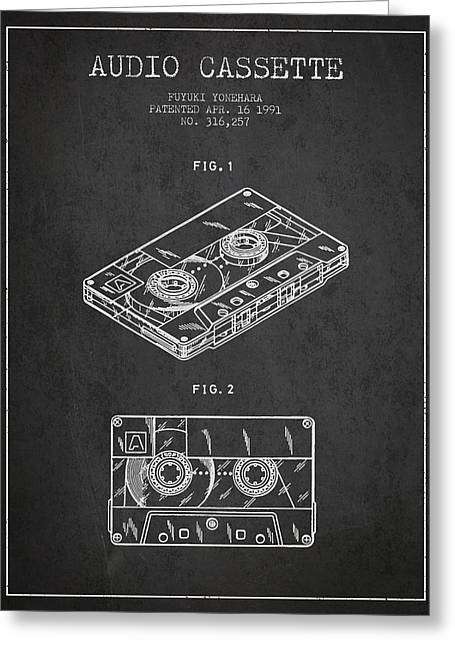 Audio Cassette Patent From 1991 - Dark Greeting Card by Aged Pixel