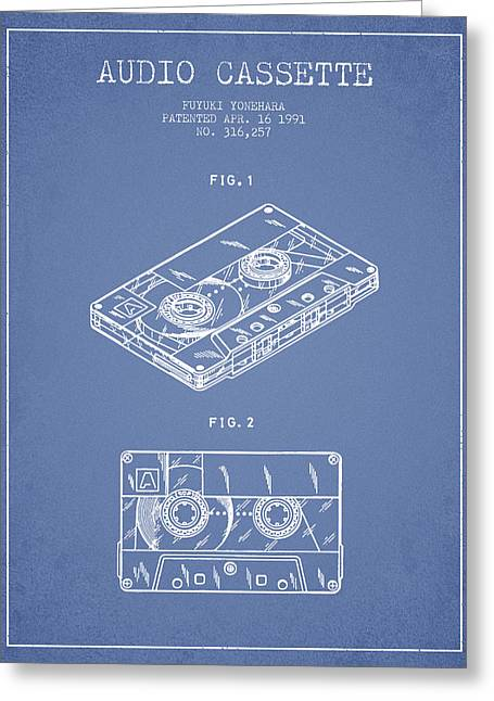 Audio Cassette Patent From 1991 - Light Blue Greeting Card by Aged Pixel