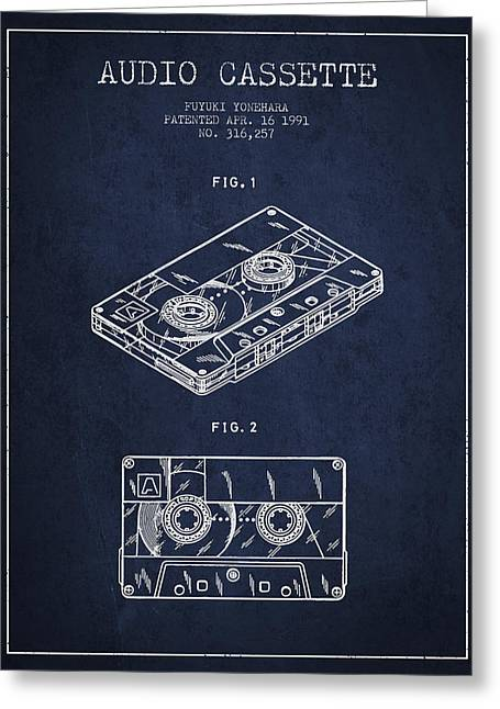 Audio Cassette Patent From 1991 - Navy Blue Greeting Card by Aged Pixel