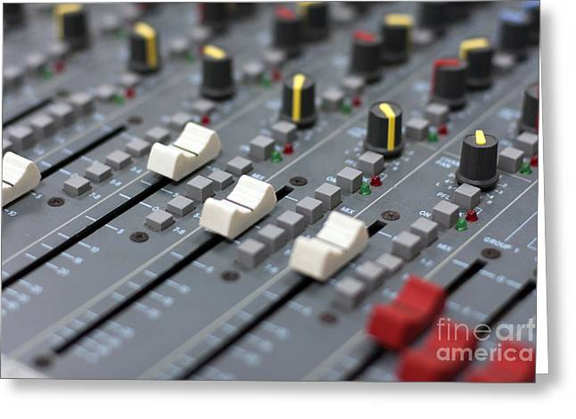 Greeting Card featuring the photograph Audio Mixing Board Console by Gunter Nezhoda