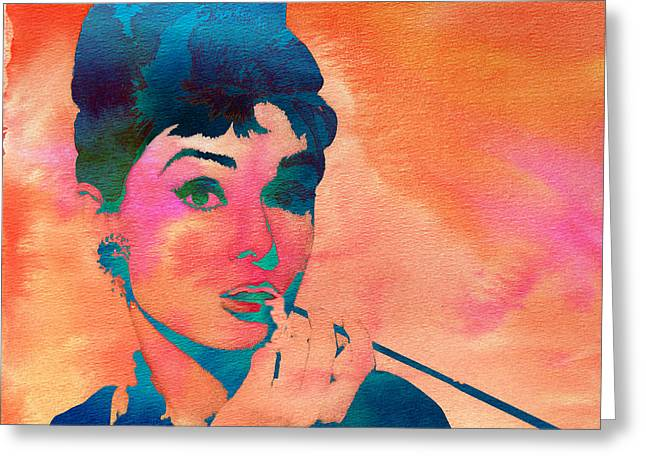 Greeting Card featuring the painting Audrey Hepburn 1 by Brian Reaves