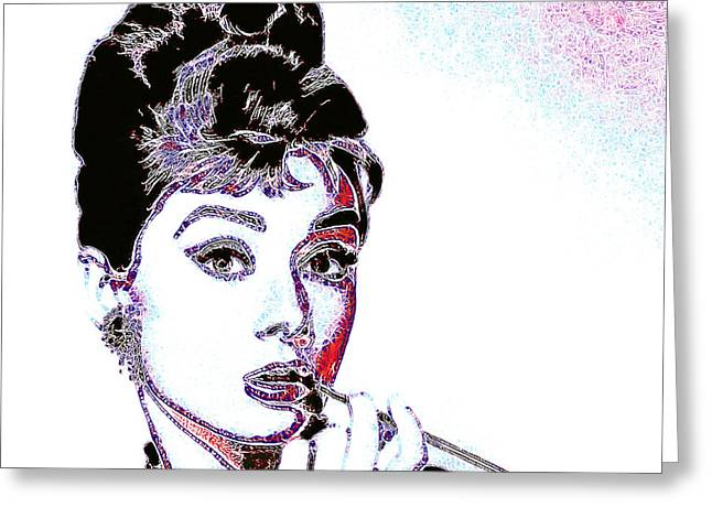 Audrey Hepburn 20130330 Square Greeting Card by Wingsdomain Art and Photography