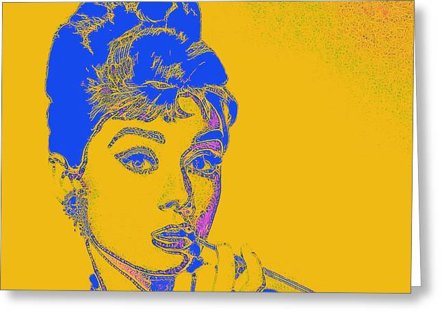 Audrey Hepburn 20130330v2 Square Greeting Card by Wingsdomain Art and Photography