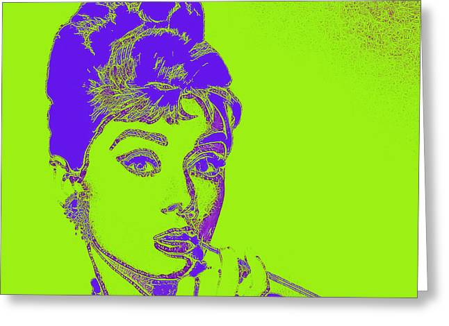 Audrey Hepburn 20130330v2p38 Square Greeting Card by Wingsdomain Art and Photography
