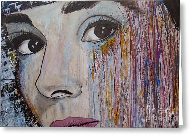 Audrey Hepburn-abstract 2 Greeting Card by Ismeta Gruenwald