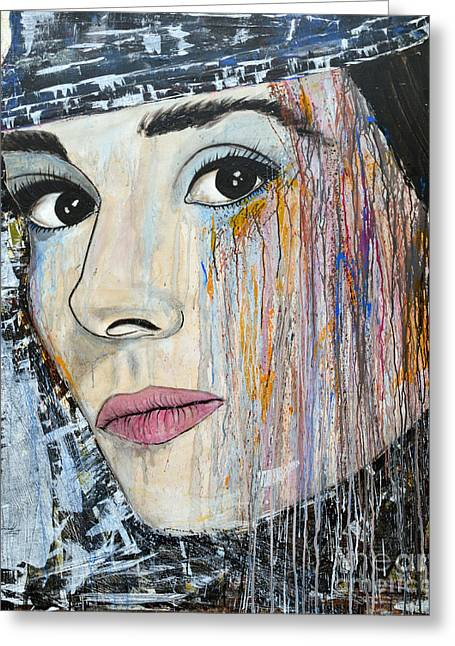 Audrey Hepburn-abstract Greeting Card by Ismeta Gruenwald